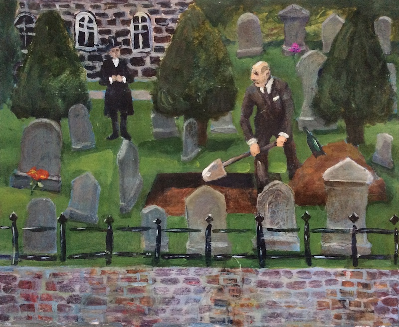 The Grave Digger  - Painting by Scottish artist Craig Harper of a grave digger in a graveyard.