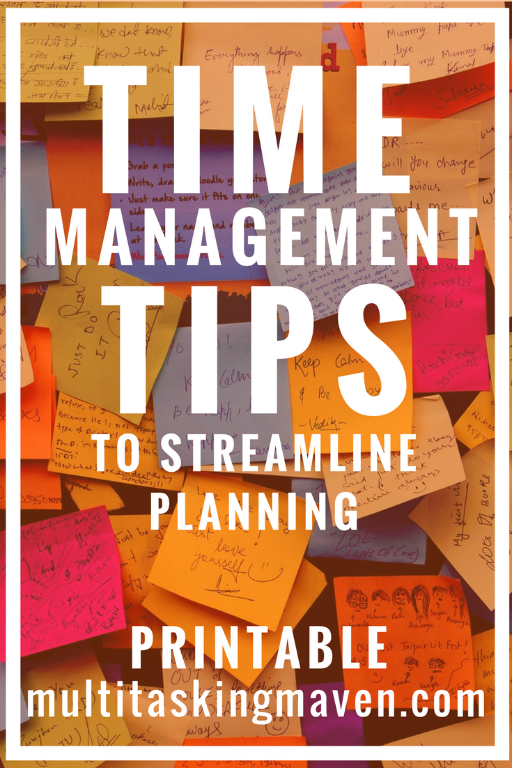 Time management tips for work are 5 strategies to streamline and turn your to-do list into done.  Stop reinventing wheel every time you start a project, get organized, productive, and automate your to-do lists.  Grab the printable planning sheet http://multitaskingmaven.com/blog/5-time-management-tips-for-work