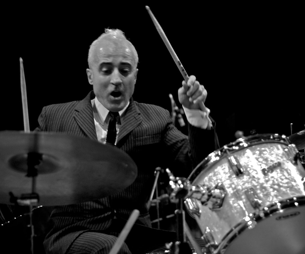 Bobby Previte in Action - b&w - photo Kate Previte.jpg