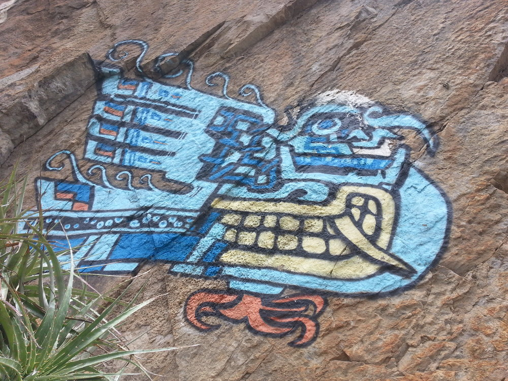Chavin graffiti, notice how the bird wing resembles the fanged grin of the Lanzon.