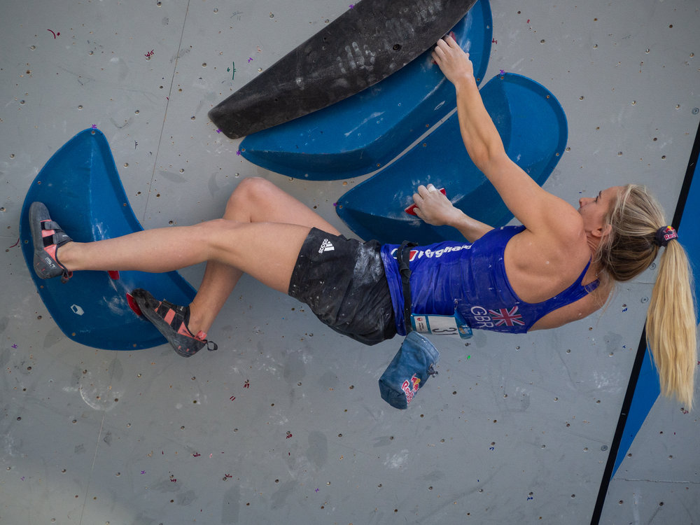 This is Shauna Coxsey, one of the world's top female climbers. I've had the opportunity to photograph her progress (including several world titles) since 2012. The IFSC Bouldering World cup is one of my favorite events at the Gopro Mountain Games. Bonus points if you're a climber as it is wicked fun to try and learn from watching their technique and problem solving!