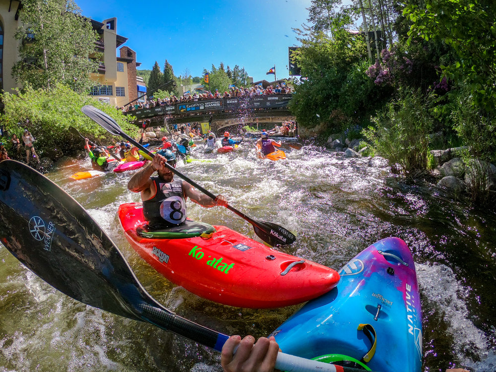 Remote camera rigging is one of my favorite aspects of working with GoPro Cameras to capture the mountain games. Nothing really grabs the energy of the event like a POV look at a 6ft kayaking charging you at full force.... 8-ball. 'Gotta Love it! GoPro Hero 6
