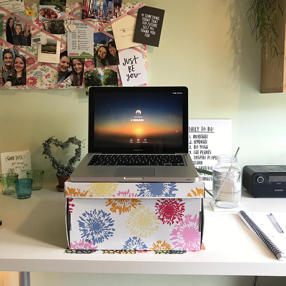 My improvised laptop stand!