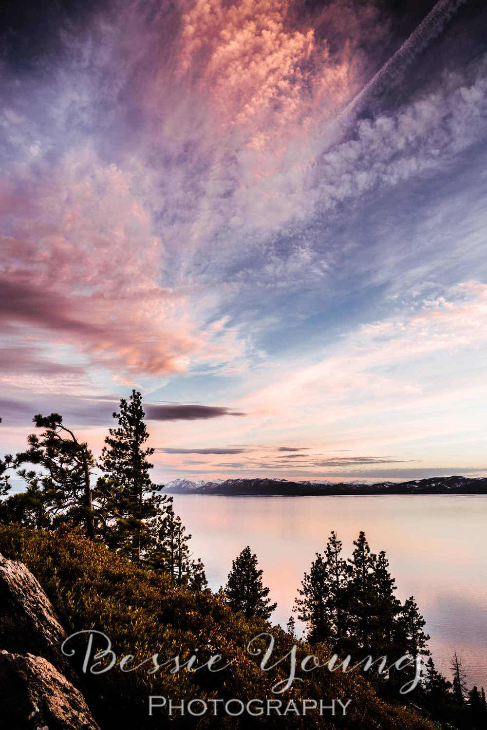Tahoe Lake Sunset Incline Village Landscape Photography by Bessie Young Photography
