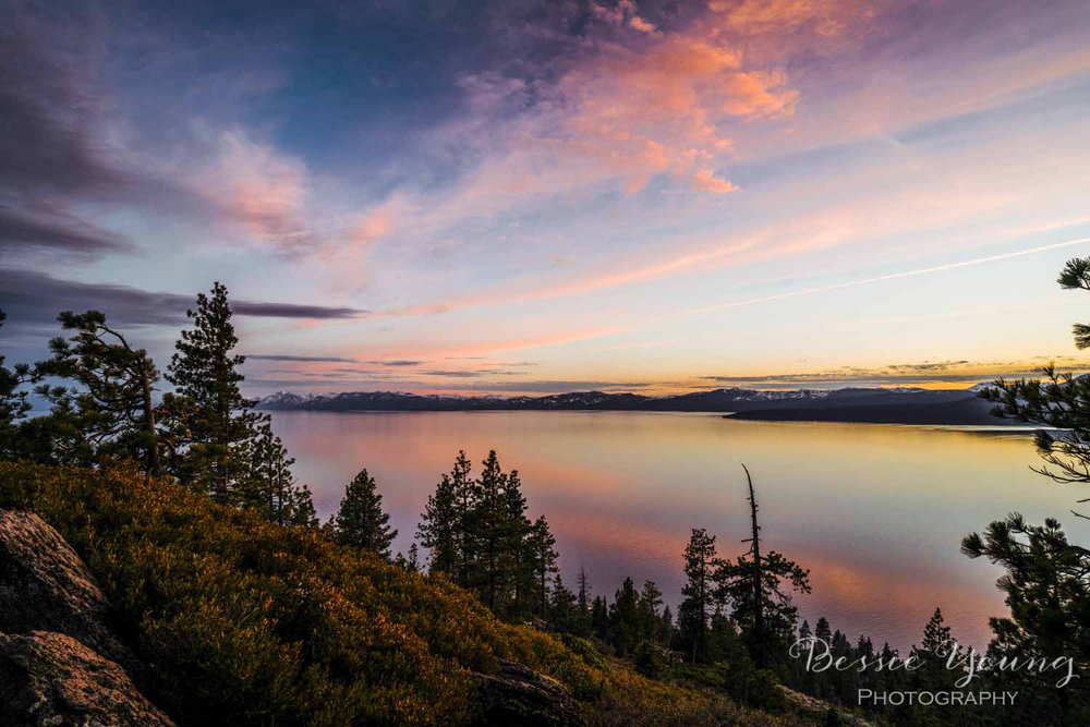 Lake Tahoe sunset photograph by Bessie Young Photography 2018 - Incline Village Photograph - Entryway decor - rustic home inspiration - rustic living room inspiration.jpg