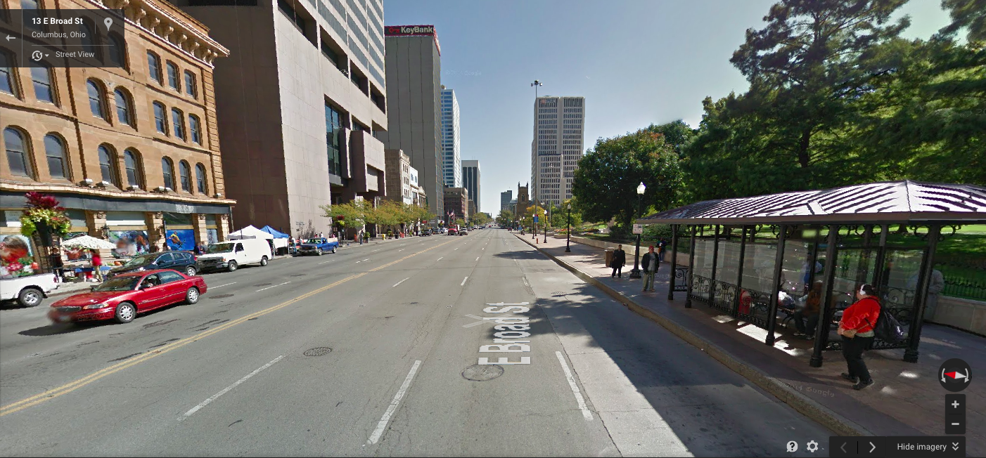 This road is in the heart of downtown Columbus, OH and it is eight (8!!) lanes wide.