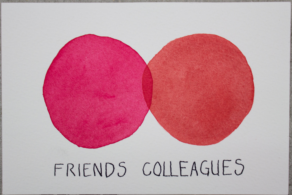 Untitled (Friends...), Watercolor and ink on Arches paper, 3.5 x 5.5 in., 2016.
