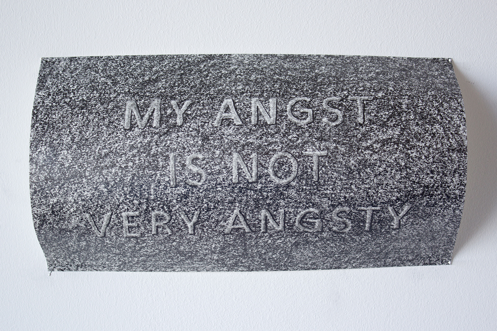 My Angst , Graphite on paper, bent and secured with pins, 5.5 x 11 x 1.75, 2016.