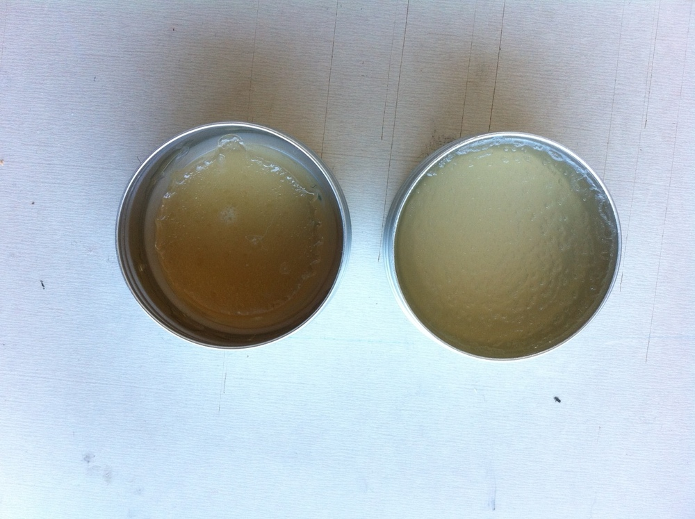 Left: Gel polymer after three weeks  Right: Gel polymer after one day