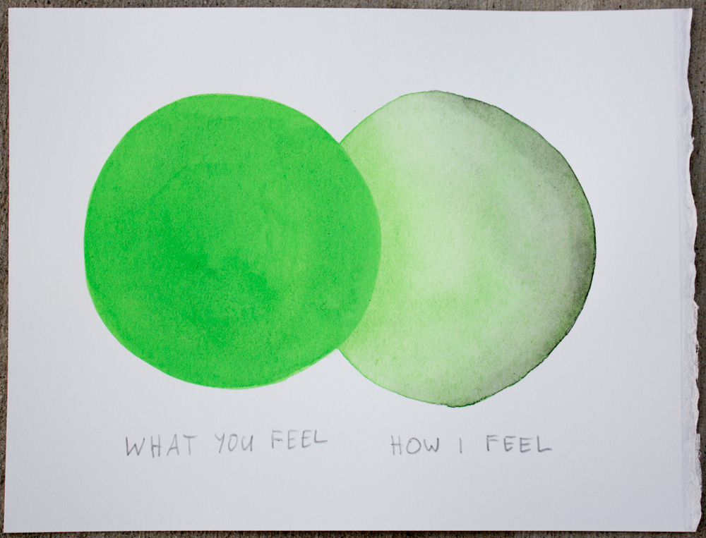 Untitled (What you feel ...) , watercolor and graphite on Somerset, 6.25 x 8 in., 2017