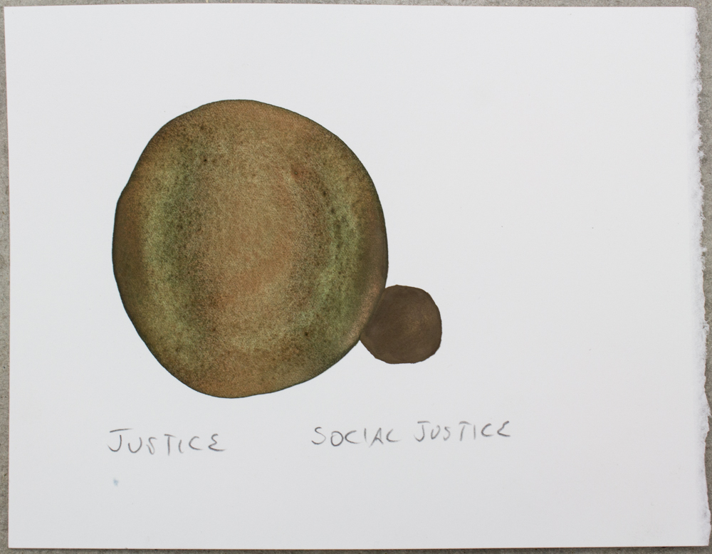 Untitled (Justice ...) , watercolor, gouache and graphite on Somerset, 6.26 x 8 in., 2018