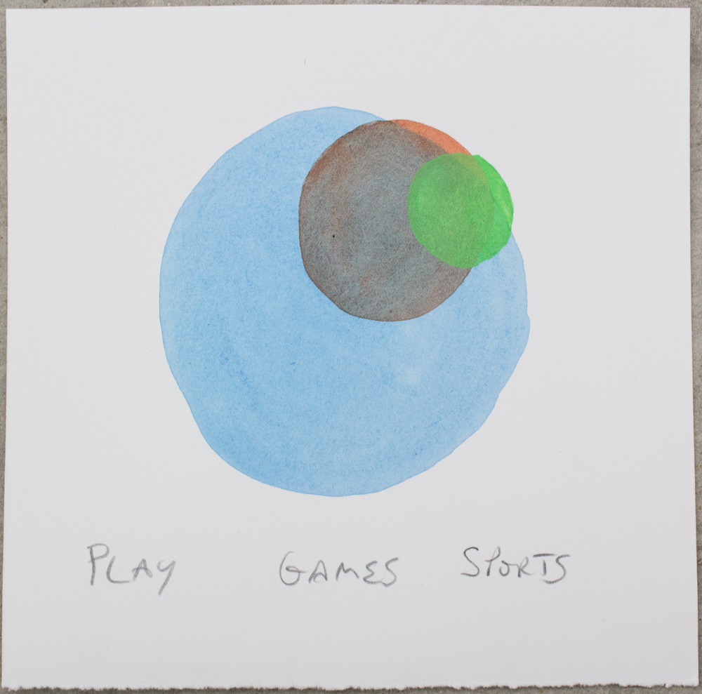 Untitled (Play/Games/Sports) , watercolor, gouache and graphite on Somerset, 6.25 x 6.25 in., 2018