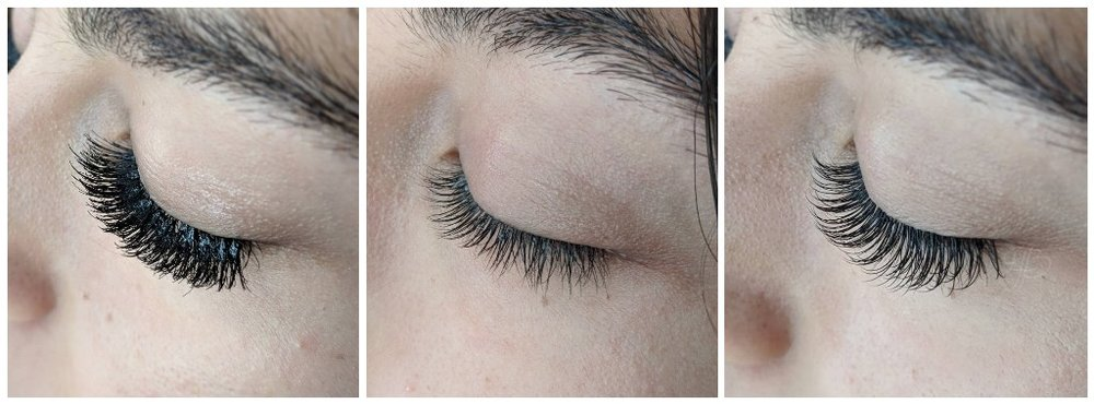1.  Damaging cluster lashes from a nail salon |  2.  Guest's natural lashes after cluster removal, leftover adhesive was removed before the full set |  3.  Classic Full Set