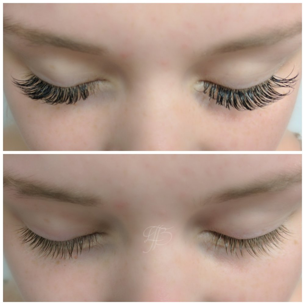before:  lash extensions by another artist   after:  guest's natural lashes after removal by The Studio