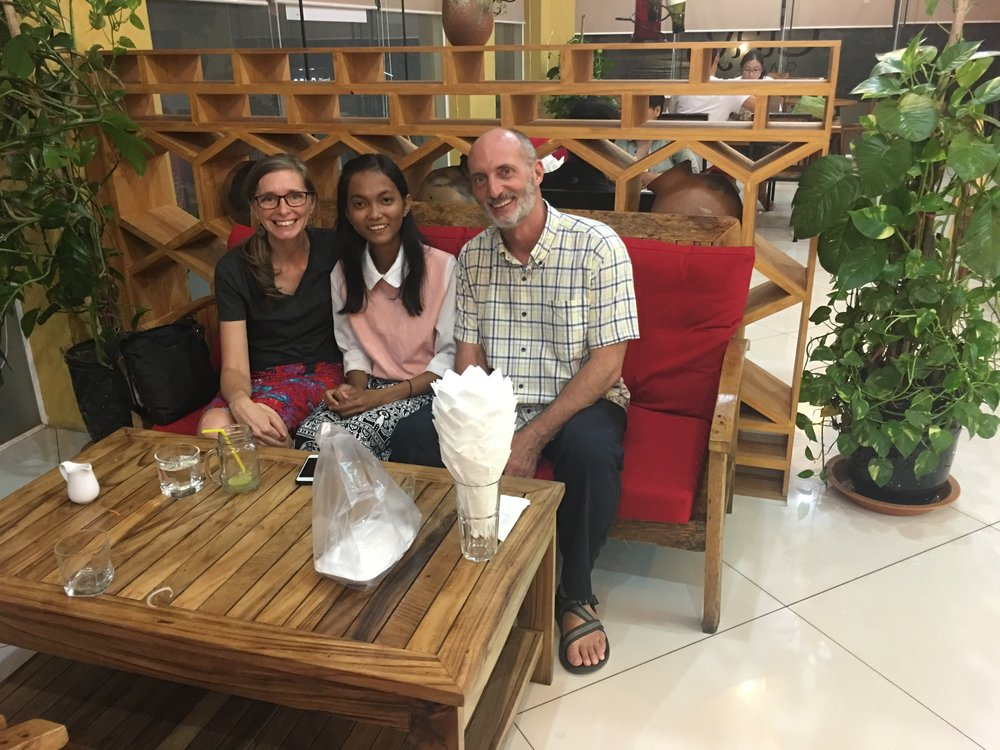 The two of us with Sarorn - a student that we have known since our first trip in 2011.  She was in jr. high school then. Now she's in nursing school. We were able to help her find funding for this semester, her last before she is officially a nurse!  She has a huge heart for serving her community, in a province in the south, particularly in providing care to women and children in need.