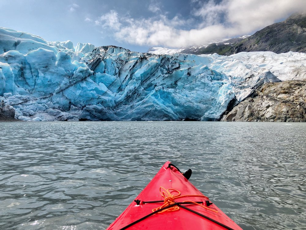 The view from Kirsten's kayak right before the glacier calved.