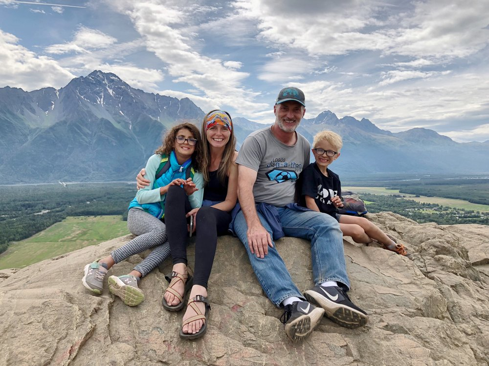 With Alina and Gavriil at the top of The Butte, a hike not far from where Kirsten grew up in the Matanuska Valley.  There are stairs up one side of the trail - 505 steps (!) - which makes the 66 stairs to the laundry room in the Cambodia house seem like a breeze.