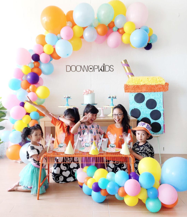 The famous bubble tea design as party theme...these girls' creativity knows no bounds!