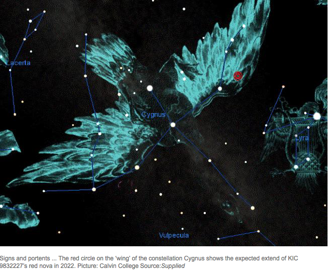 An image from  this news.com.au article about a predicted exploding star, Cygnus.