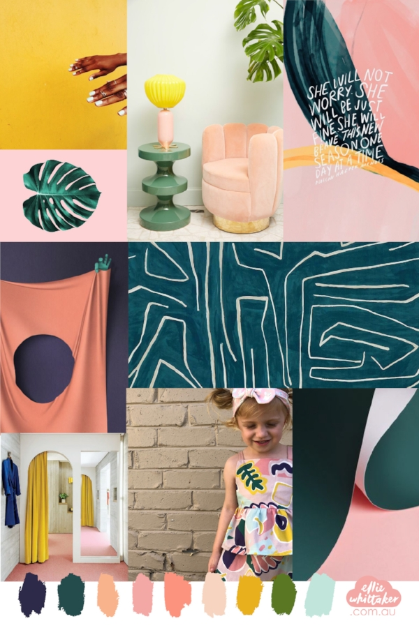 The moodboard I created for the fabric used in this project...! Top to bottom L-R (Fab  mustard hands , gorgeous furniture from  Corriere Italy , pretty quote by  Morgan Harper NIchols , cool art by  Dark Silence in Suburbia,   amazing velvet texture in this room by  KNSTRCT  via  Apartment Therapy , my pretty girl in....spoiler...her new romper using my fabric..., and a simple but lovely artwork by  Insplosion .