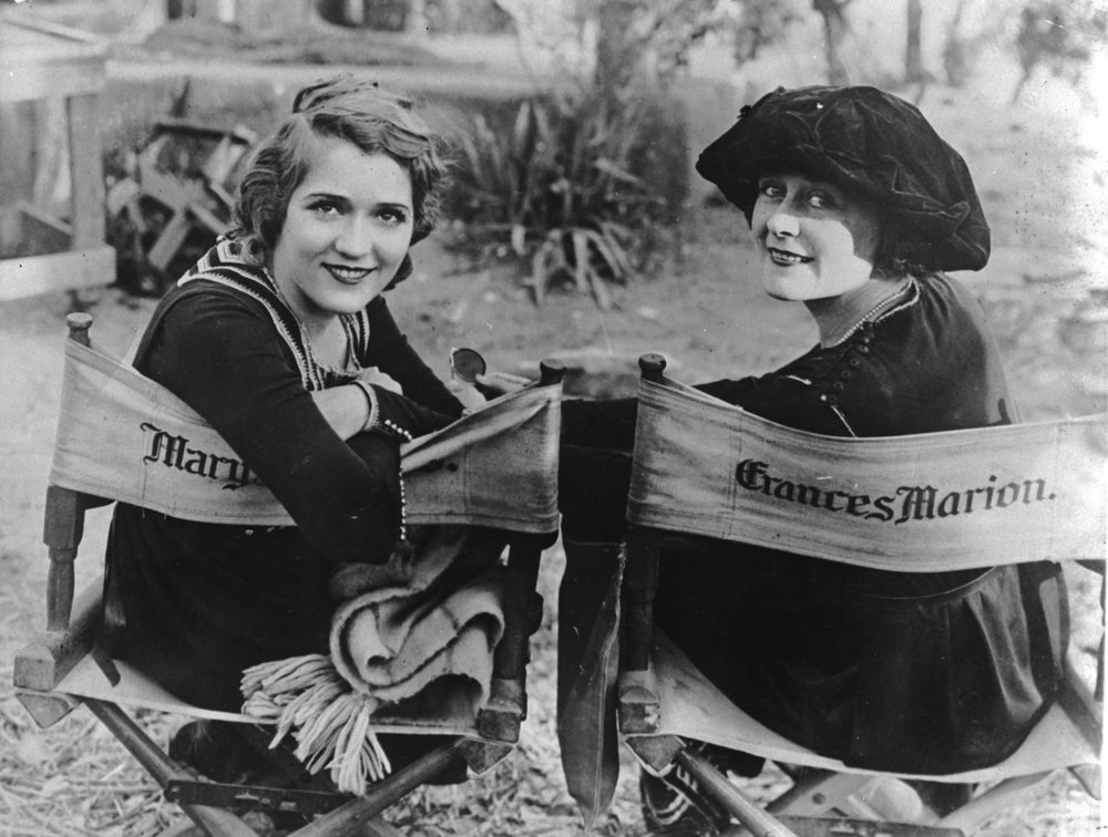 Mary Pickford and Frances Marion on the set of their 1921 collaboration  The Love Light.