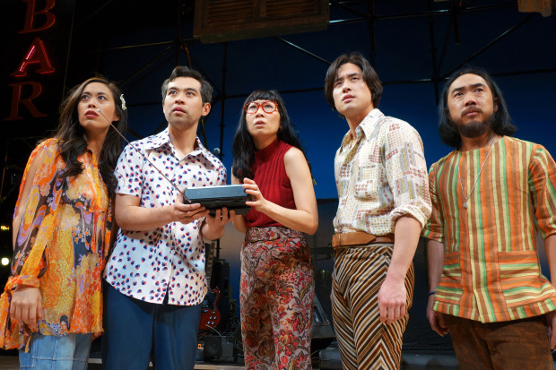Brooke Ishibashi, Joe Ngo, Jane Lui, Raymond Lee, and Abraham Kim in Lauren Yee's  Cambodian Rock Band  at South Coast Rep in spring 2018. Photo by Tania Thompson.