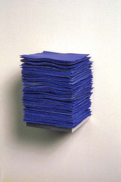 """The Color of Cobalt , 2004  6"""" x 4"""" x 4"""", Porcelain infused with Cobalt, Aluminum"""