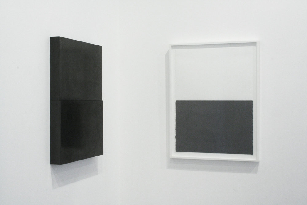 "Diptych, no.1, 2010  Drawing: Graphite pencil on paper, 30"" x 22""  Sculpture: Solid Graphite, 30"" x 22"" x 3"""
