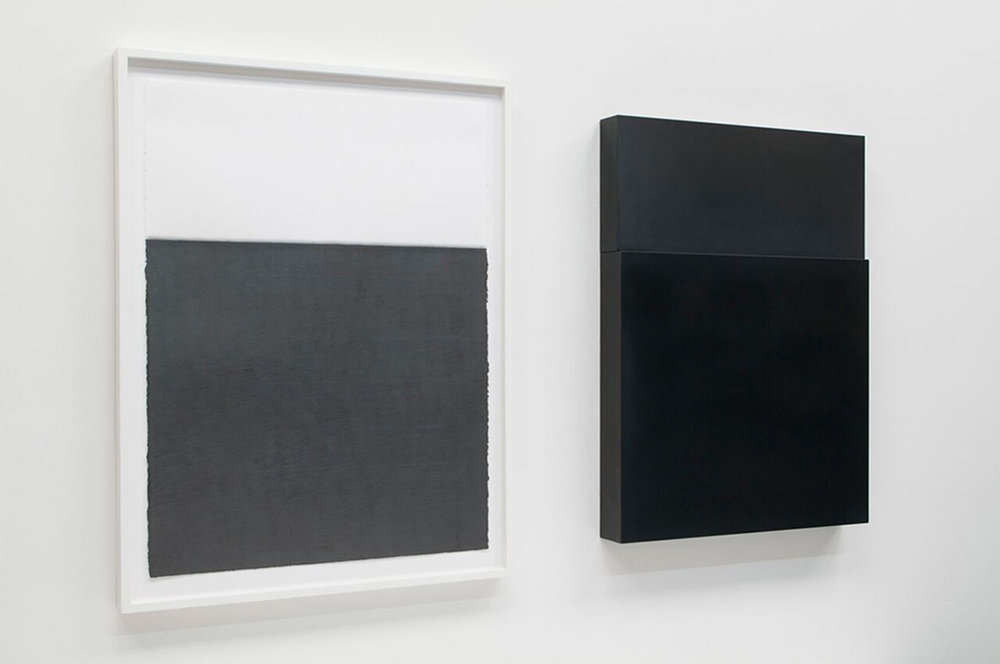 "Diptych, no. 1, 2010  Drawing: Graphite pencil on paper, 30"" x 22""  Sculpture: Solid graphite, 30"" x 22"" x 3"""