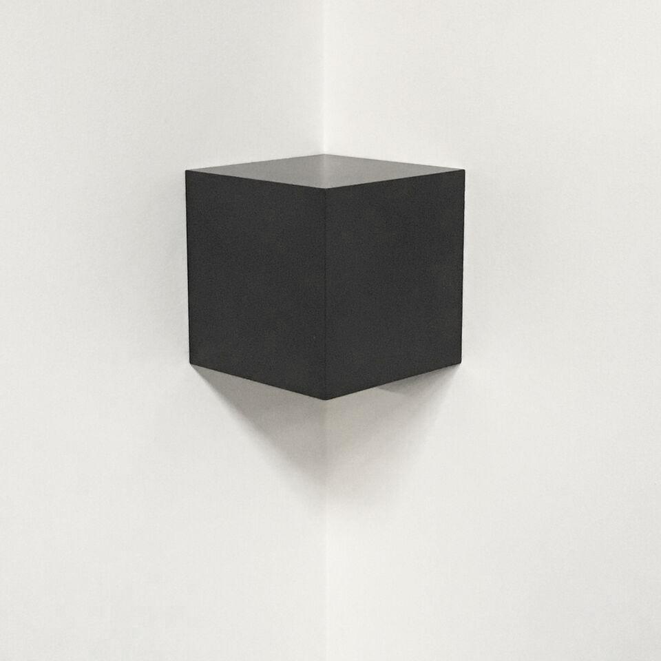 """Corner Cube , 2015  12"""" x 12"""" x 12"""", Solid graphite"""