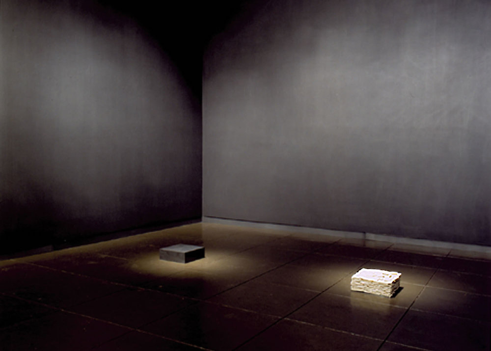 Center of Gravity,  2001 (installation view, New Mexico Museum of Art)  20'x 14' x 12', Graphite, Porcelain, Steel,