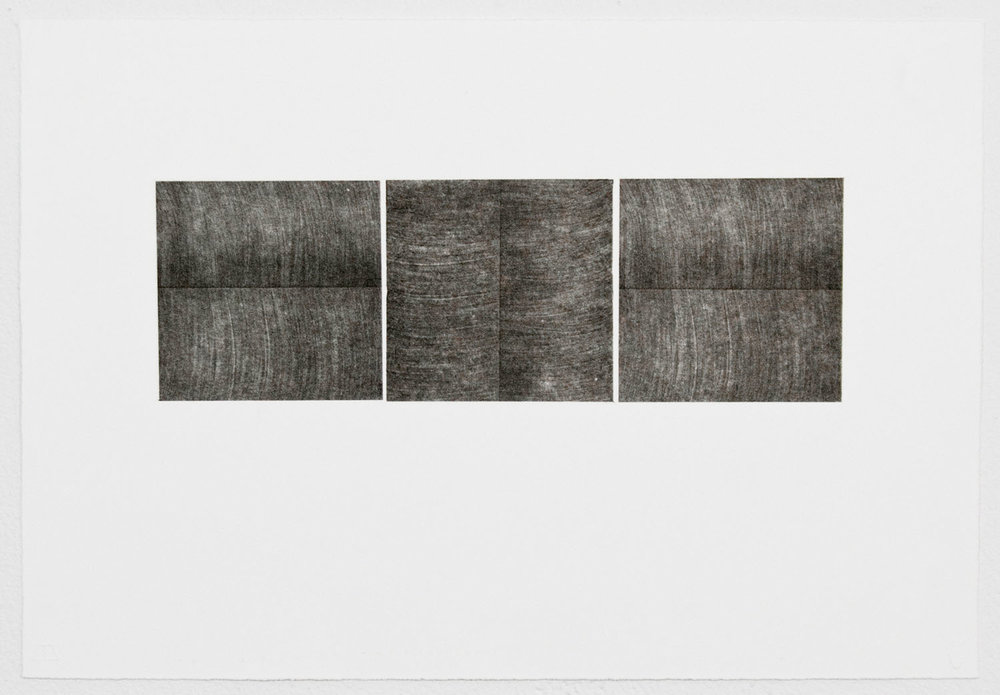 "Unfolding Triptych No. 1, Edition of 15, 2015  Single-color lithograph with chine colle, 10.94"" x 15.81"" (paper size)  Collaborating Printer: Valpuri Remling @ Tamarind Institute"