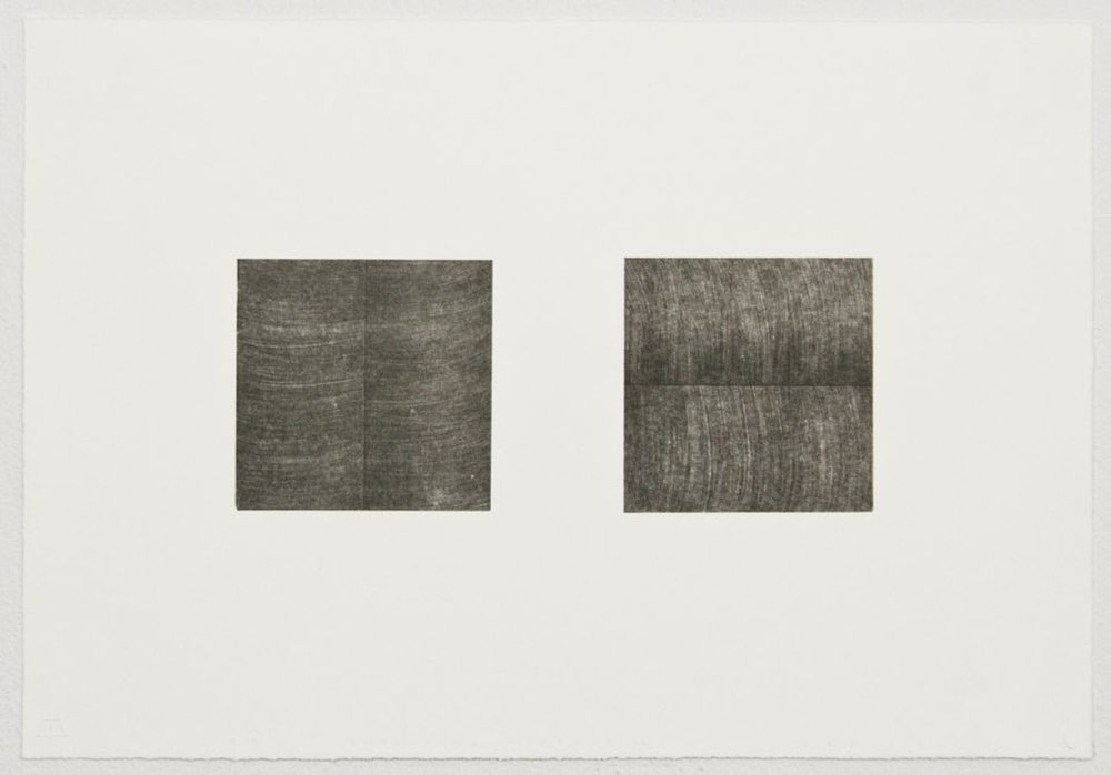 "Unfolding Diptych No. 1, Edition of 15, 2015  Single-color lithograph with chine colle, 10.17"" x 15.81"" (paper size)  Collaborating Printer: Valpuri Remling @ Tamarind Institute"