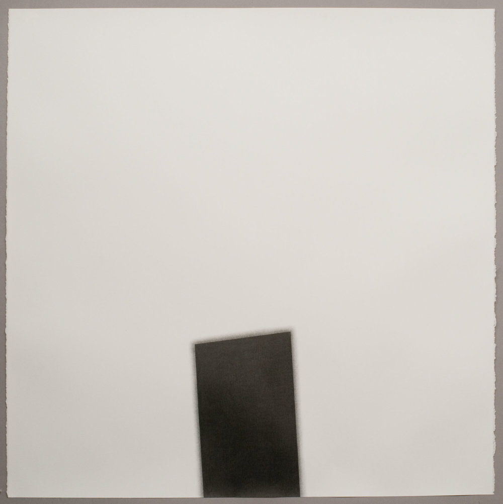 "Beneath Tilted Column, 2009  Graphite pencil on paper, 42"" x 42"""