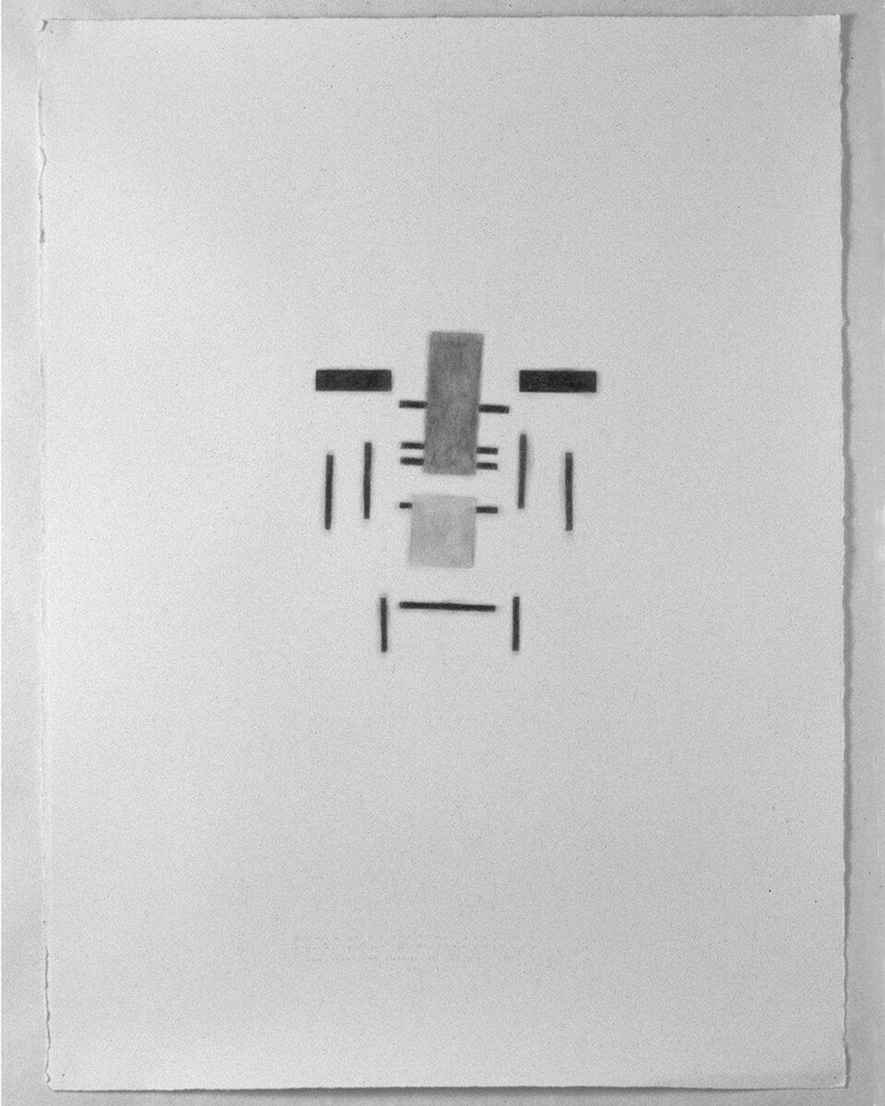 """Blauprint van Rietveld's stoel '…den stuhl sich flochte.""  (Blueprint of Rietveld's Chair), 1997  30""x 22"", graphite pencil on paper"