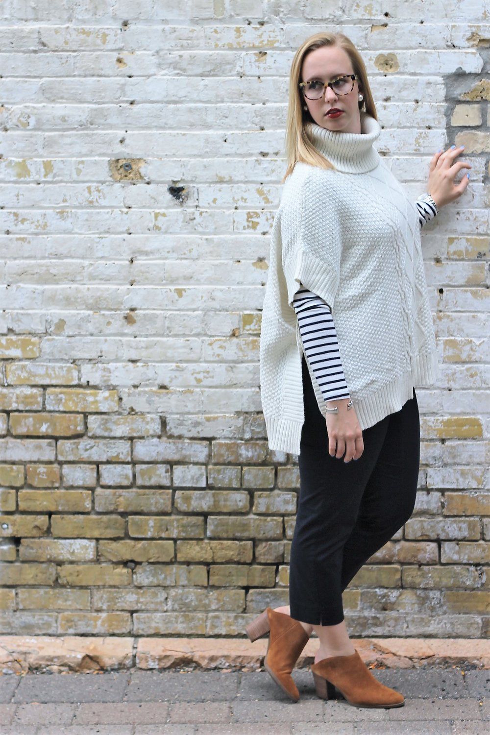 Striped Series   Chunky Poncho and Booties for Corporate Style   Work & What She Wore