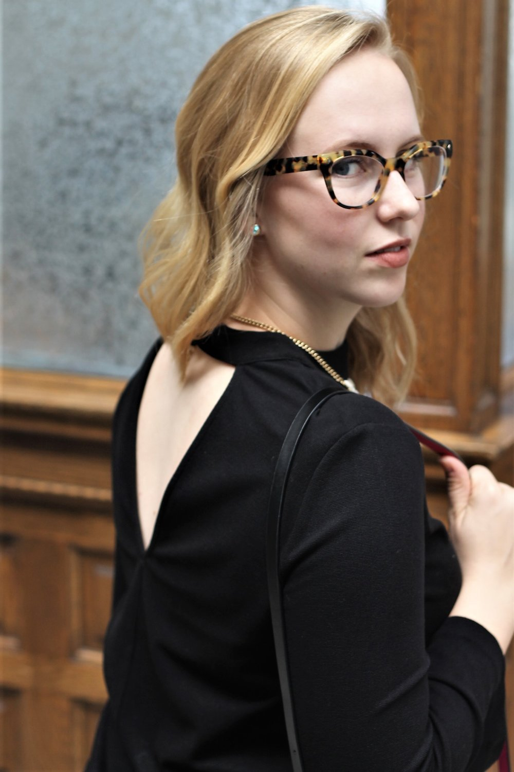 All Black with a Patterned Vest and Statement Necklace | Work & What She Wore