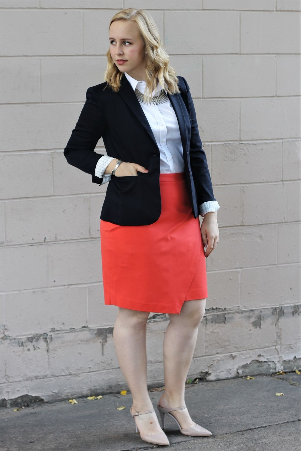 Interview Season | Bright Orange Pencil Skirt Turned Corporate Chic | Work & What She Wore