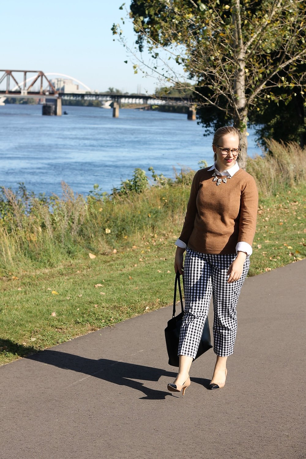 Check Yourself | Patterned Pants and Camel Sweater | Work & What She Wore
