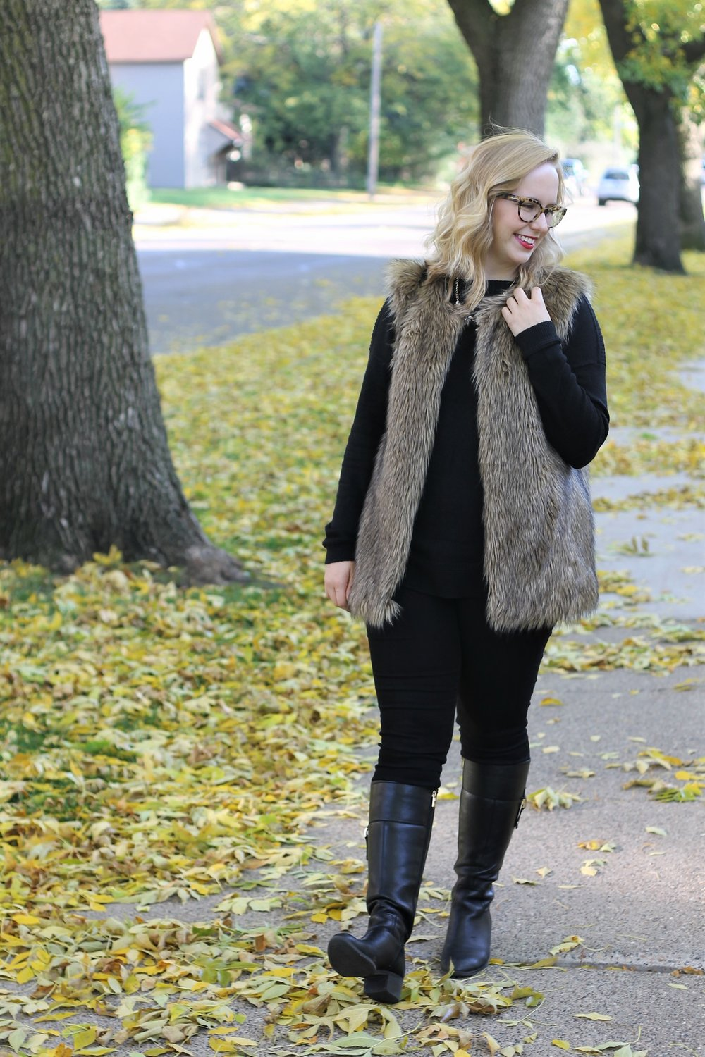 Faux Fur | All Black with a Textured Vest | Work & What She Wore