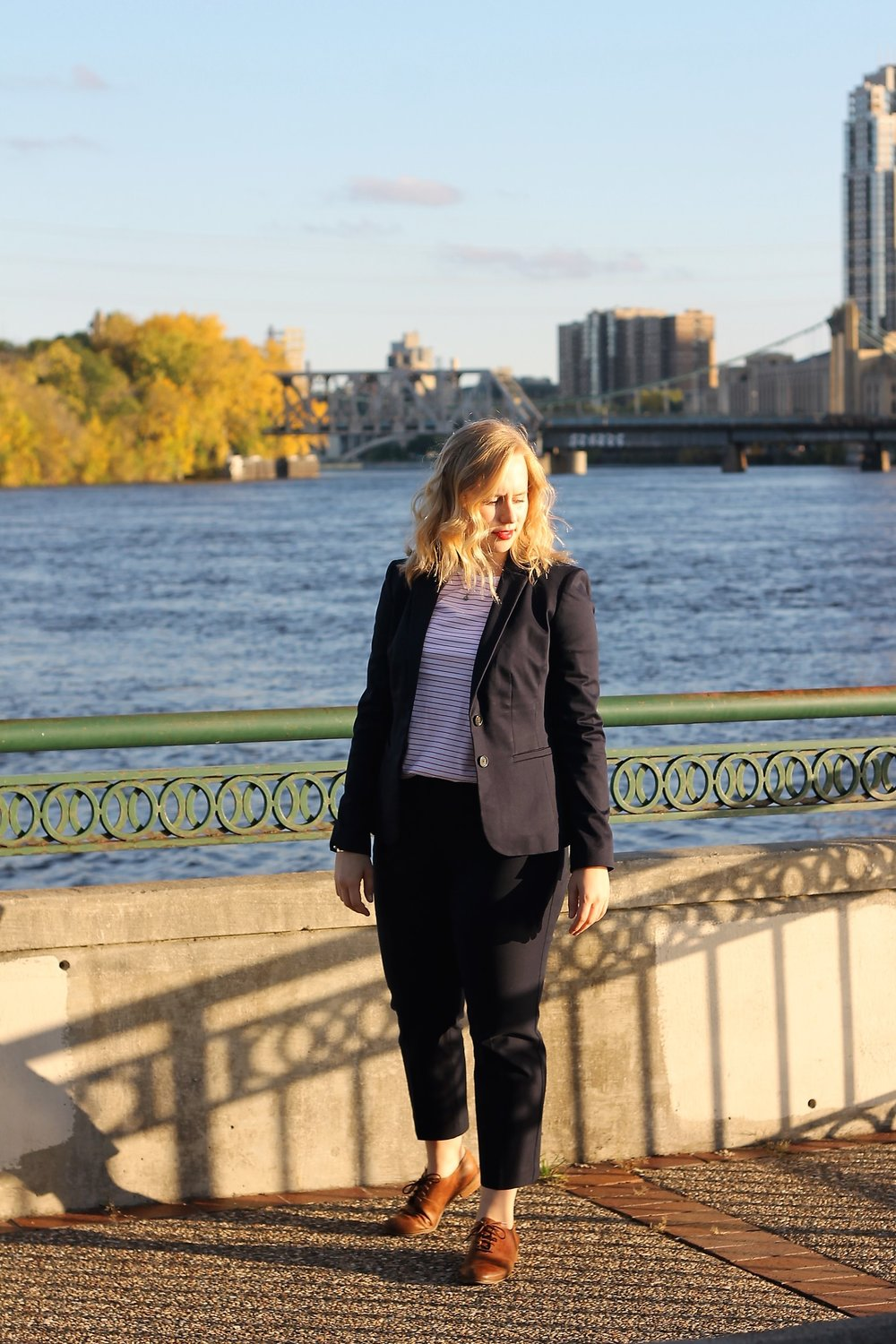Navy Blue Suit & Another Striped Top | Work & What She Wore