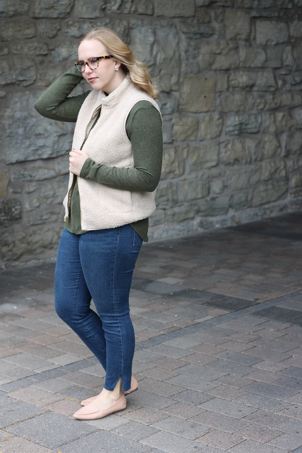 Holiday Casual   Olive Green and Sherpa Vest   Work & What She Wore