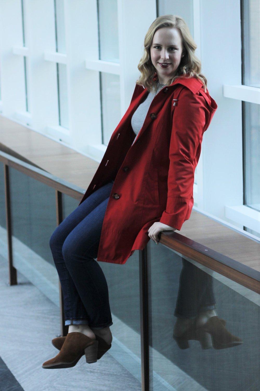Red Raincoat   Work & What She Wore