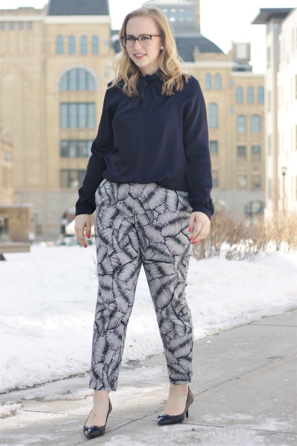 Leaf Pattern Pants & Twisted Top   Work & What She Wore