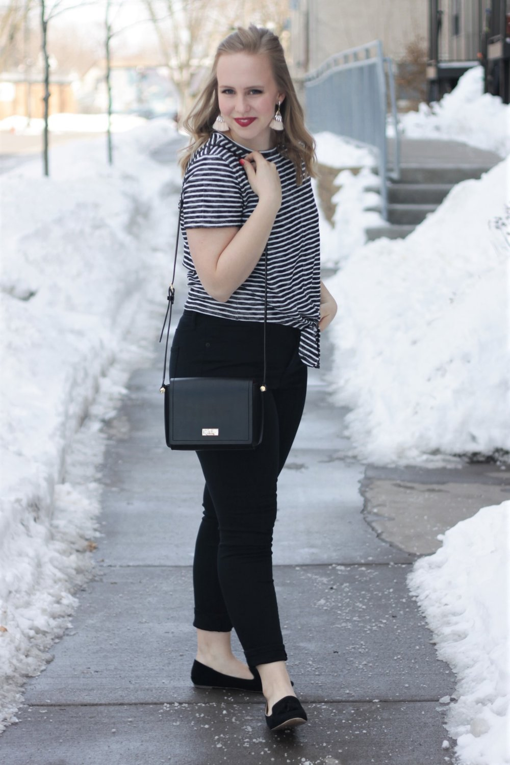 Striped Tie Top & Black Jeans | Work & What She Wore