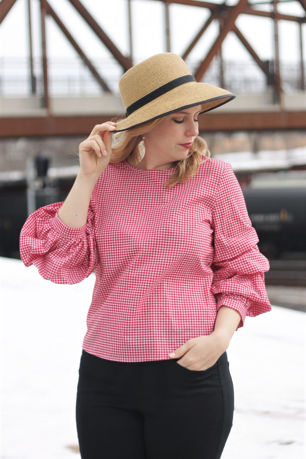 Gingham Shimmy Shirt | Work & What She Wore