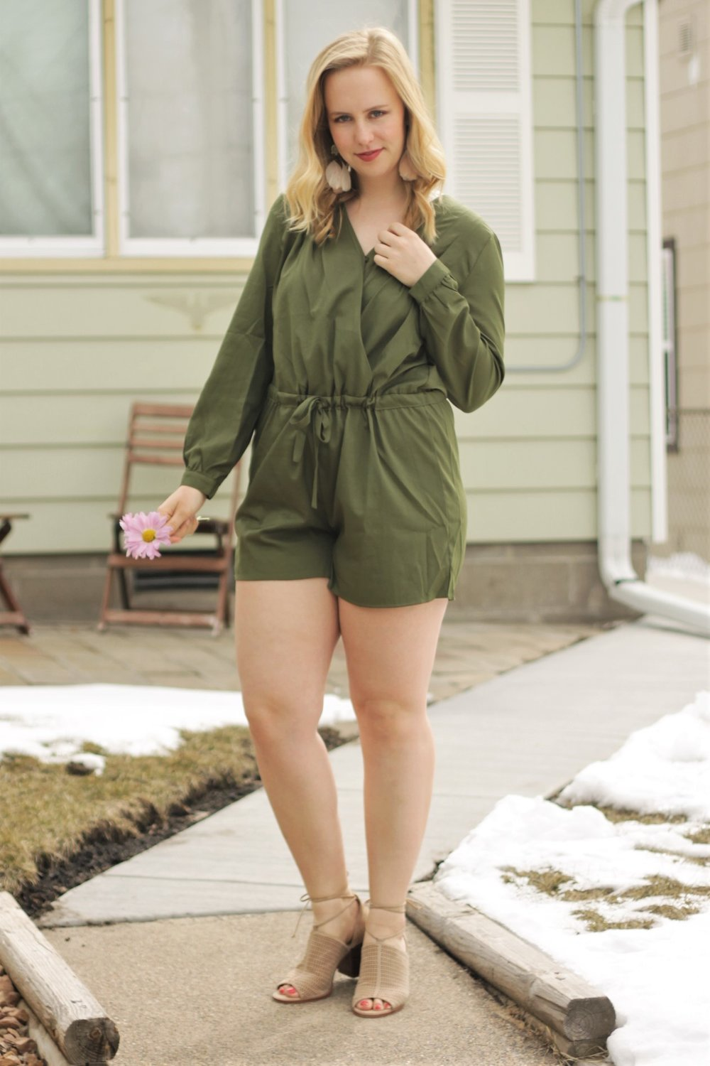 Olive Romper   When will Spring arrive?   Work & What She Wore