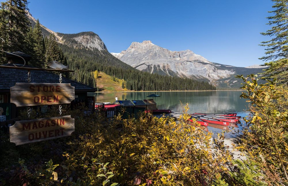 Paddle a canoe on Emerald Lake