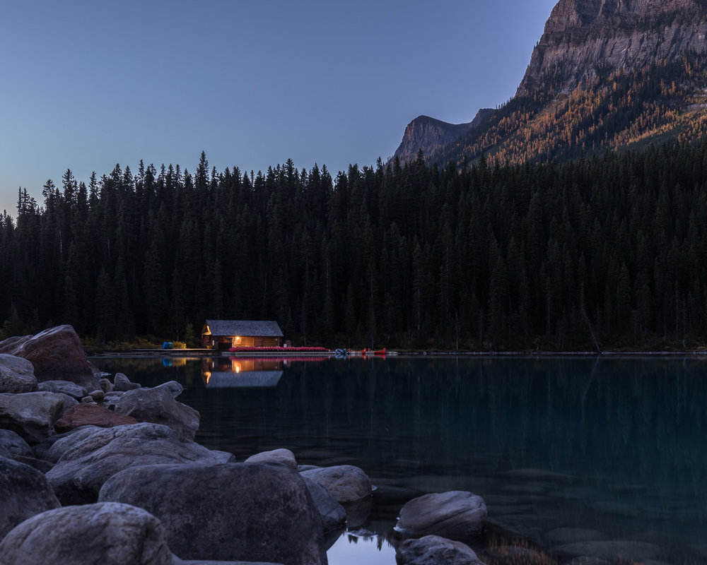 The Lake Louise boathouse at dawn