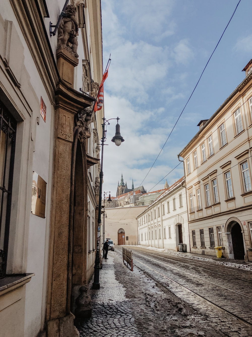My view of the Prague Castle on the way to class